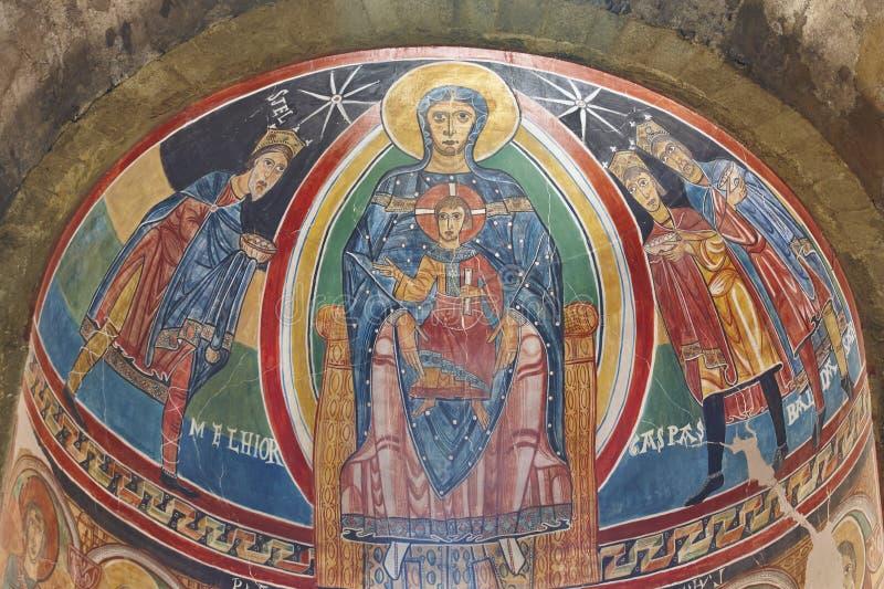 Santa Maria de Taull central apse detail. Romanesque. Spain stock photography