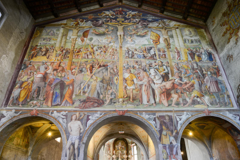 Santa Maria degliAngioli kyrka på Lugano, Schweiz royaltyfria bilder