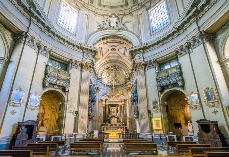 Santa Maria deiMiracoli kyrka i Piazza del Popolo, i Rome, Italien royaltyfria foton