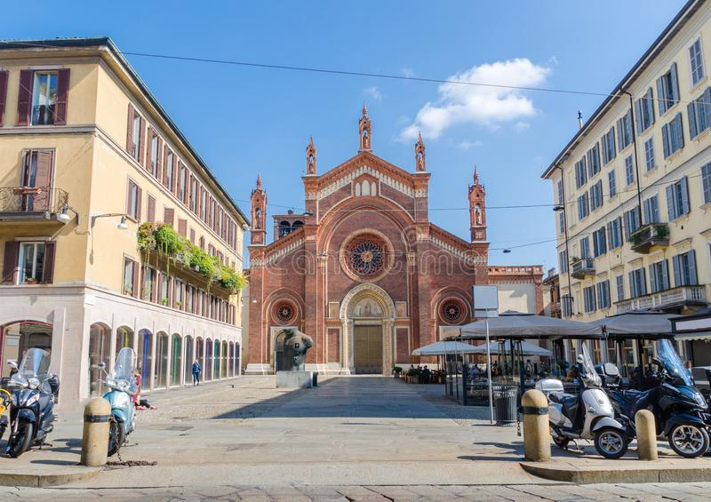 Santa Maria del Carmine Church in Brera, Milaan, stock afbeeldingen