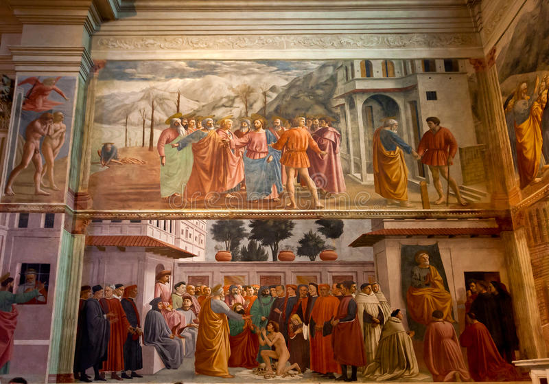 Santa Maria del Carmine för freskomålningBrancacci kapell kyrka, Florence, Firenze, Toscany, Italien arkivbilder