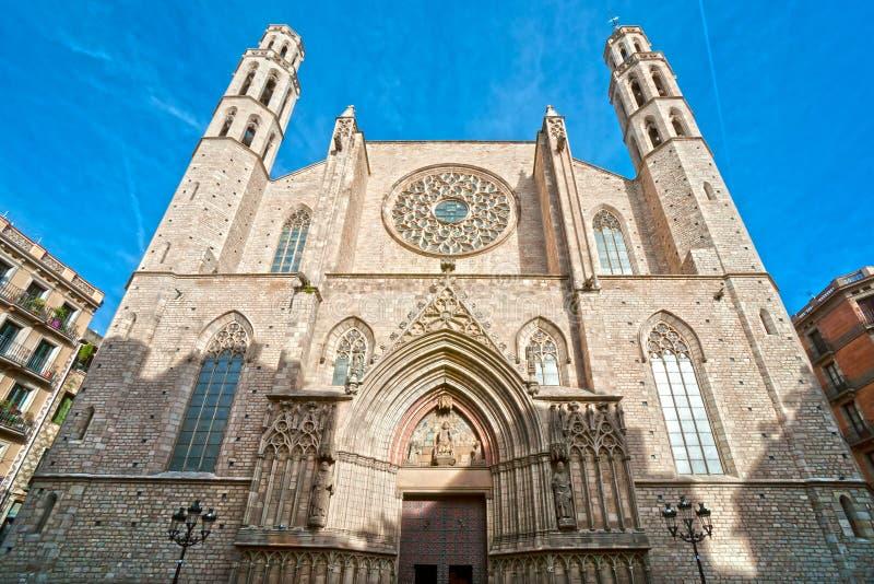Santa Maria del Fördärva, Barcelona. arkivbild