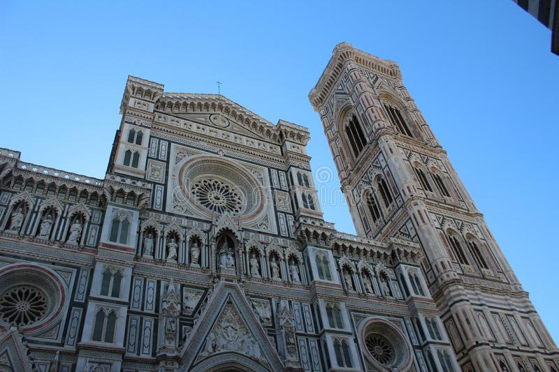 Santa Maria del Fiore - Duomo. Florence`s cathedral is sort of inside out, prettily decorated on the outside with a festive cladding of green, pink, and white stock photos