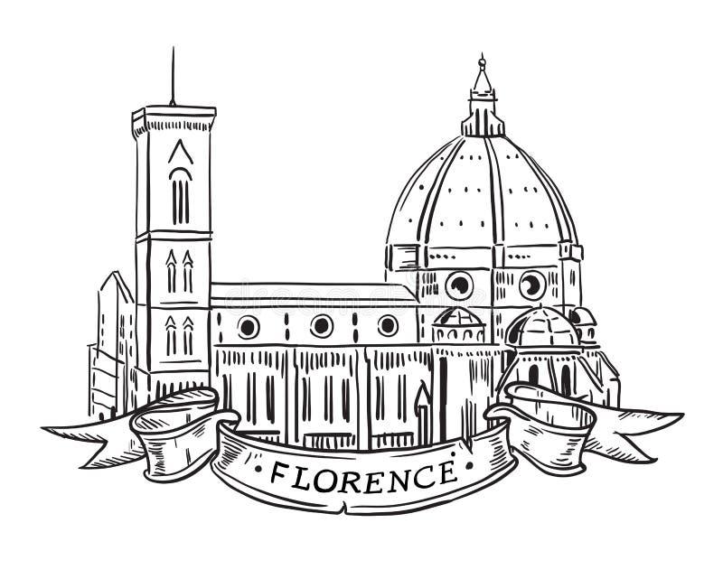 Santa Maria Del Fiore, Florença ilustração do vetor