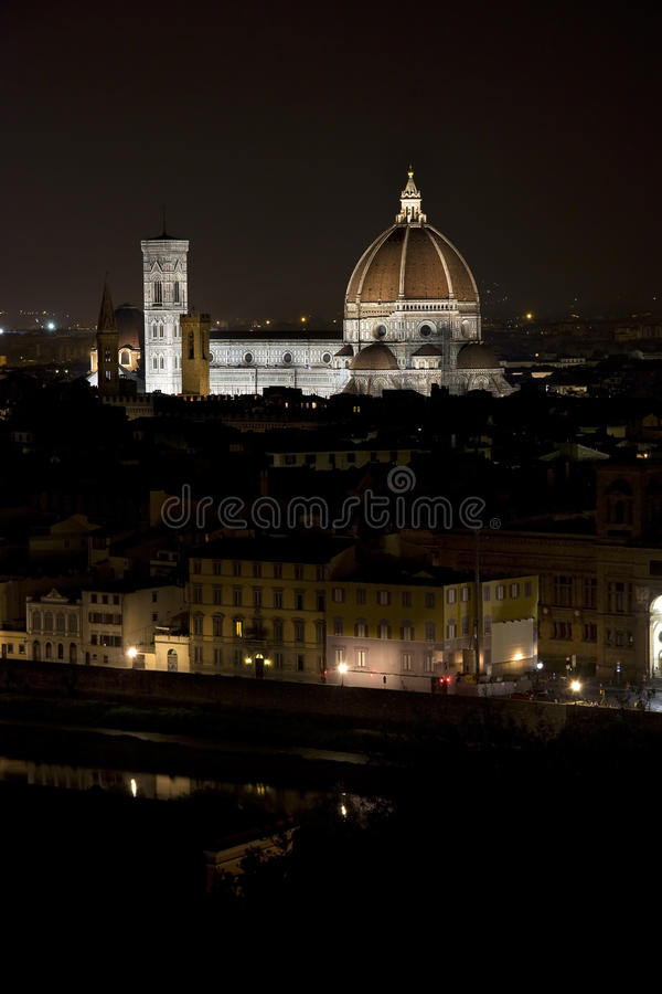 Santa Maria Del Fiore Florence Cathedral By Night Stock Photo