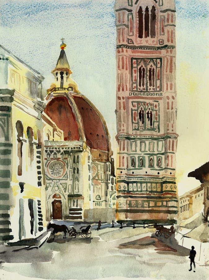 Santa Maria del Fiore Florence Duomo com arte da aquarela da torre e do baptistery de sino ilustração do vetor