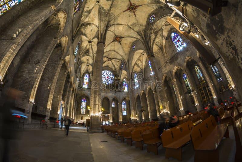 Santa Maria del Mar church interior, Barcelone, Spain stock photos