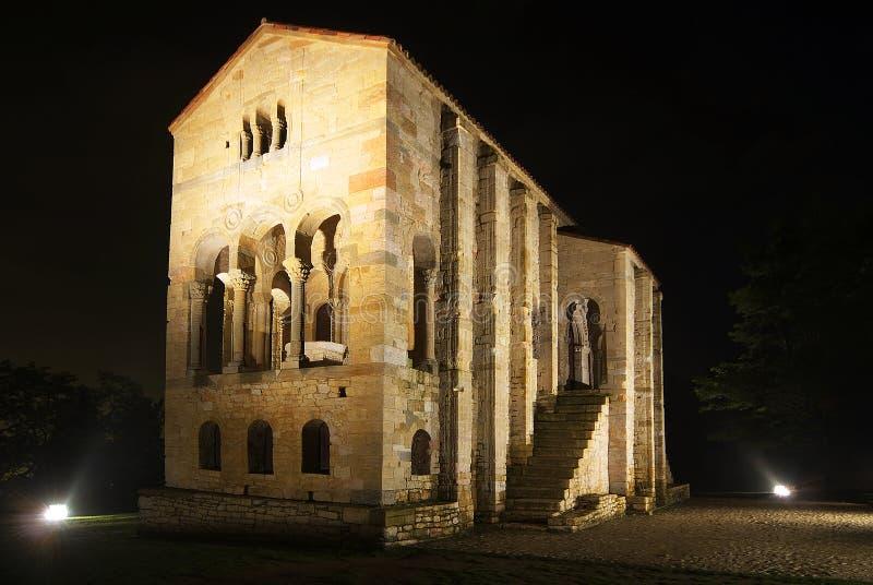 Santa Maria del Naranco at night. Spain royalty free stock photo