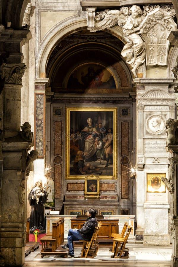 Santa Maria del Popolo Church Höger gång rome italy royaltyfri fotografi