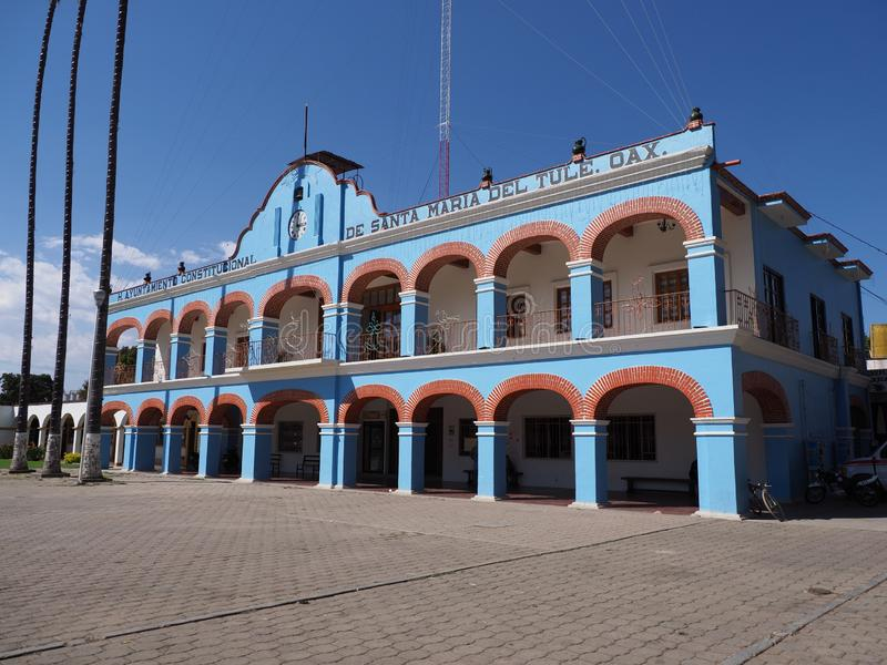 Facade and side of town hall on main market square in mexican city center at Oaxaca state in Mexico stock image