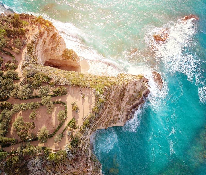 Santa Maria dell`Isola symbol of the city of Tropea Vibo Valentia, Calabria stock photo
