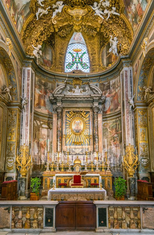 Main altar in the Church of Santa Maria dell`Orto, in Rome, Italy. stock images