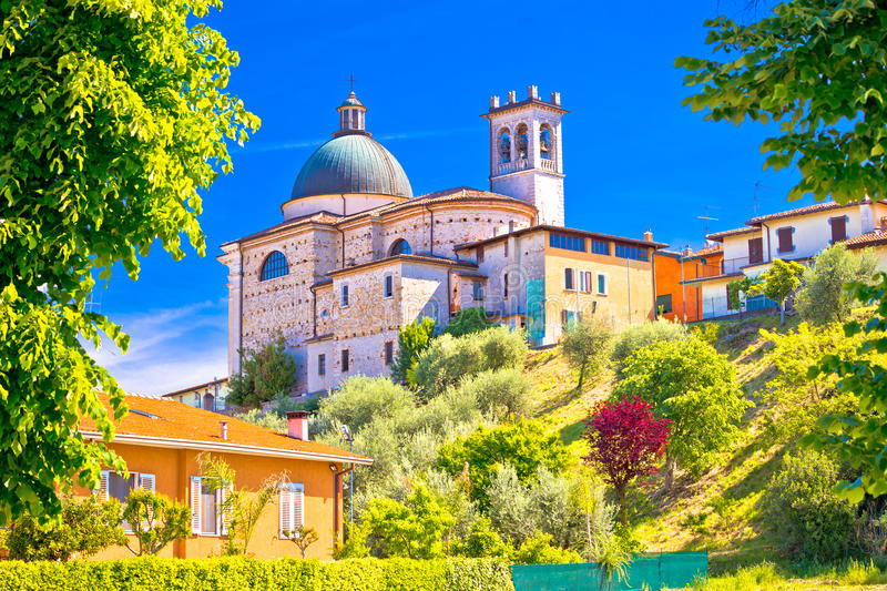 Santa Maria della Neve church on idyllic green hill royalty free stock photography