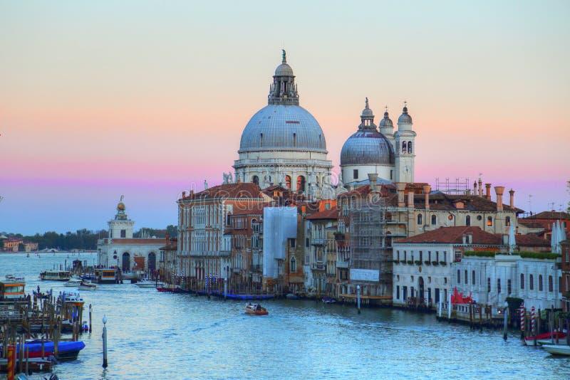 Santa Maria della Salute Cathedral - sikt från den akademiska världenbron arkivfoto