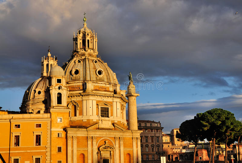 Santa Maria di Loreto in the Afternoon Sun. The church of Santa Maria di Loreto in Rome in the afternoon sun. In the background a glimpse of Trajan's Column can royalty free stock images