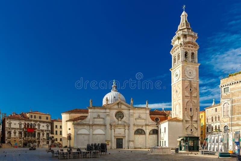 Santa Maria Formosa in Venice, Italia. North facade of Church Santa Maria Formosa in the Castello, Venice at morning, Italia royalty free stock photos