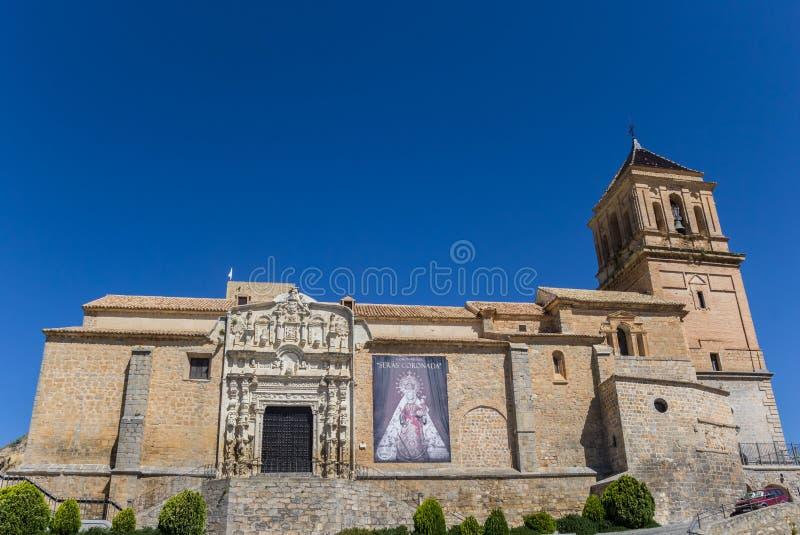 Santa Maria kościół na górze wzgórza w Alcaudete obraz stock
