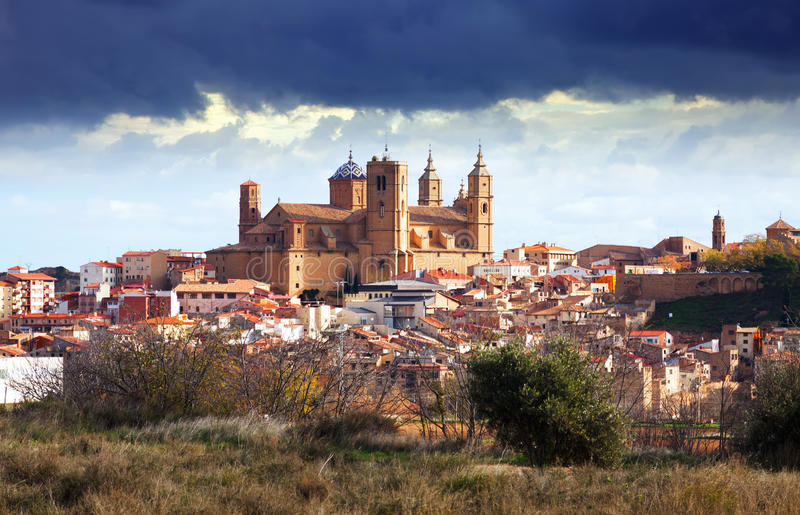 Santa Maria la Mayor at Alcaniz. In winter. Aragon, Spain royalty free stock photos