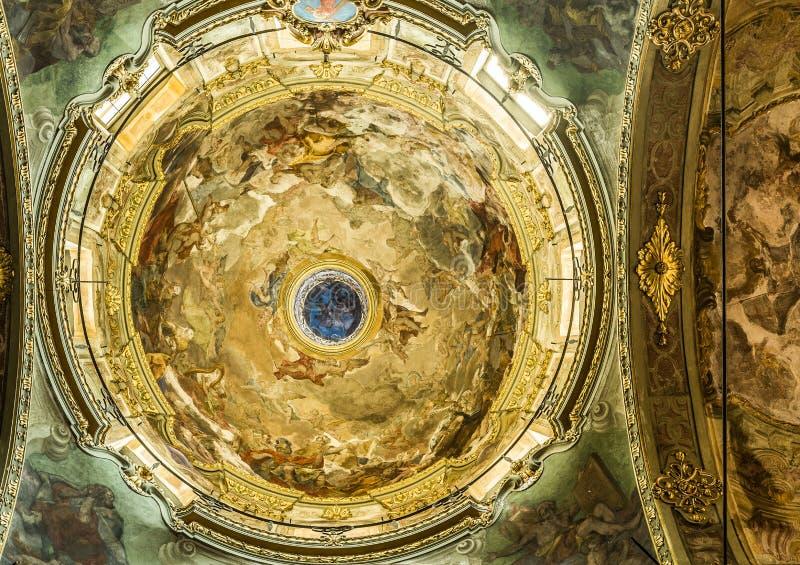 Santa Maria Maddalena church of Genova, Italy. Genova, Italy - July 26, 2016. Inside of Chiesa di Santa Maria Maddalena church of Genova. Liguria, Italy royalty free stock images
