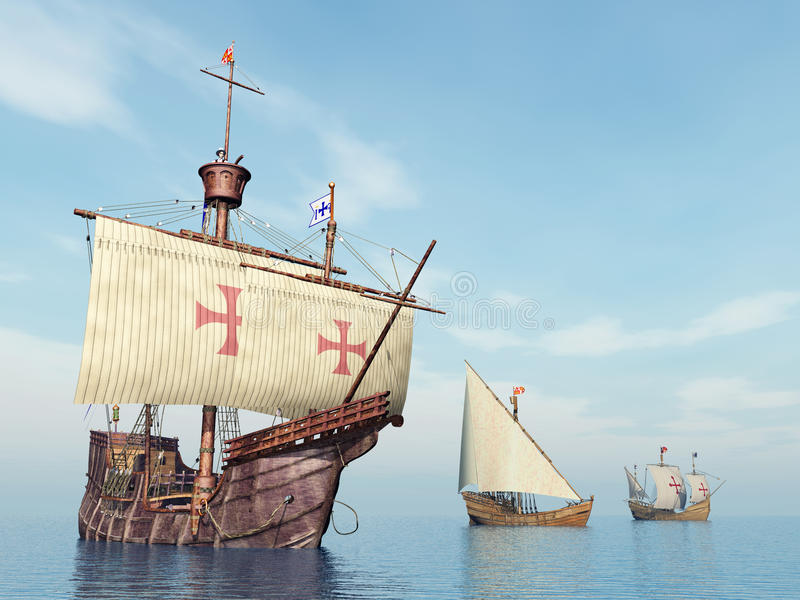 Santa Maria, Nina en Pinta van Christopher Columbus stock illustratie