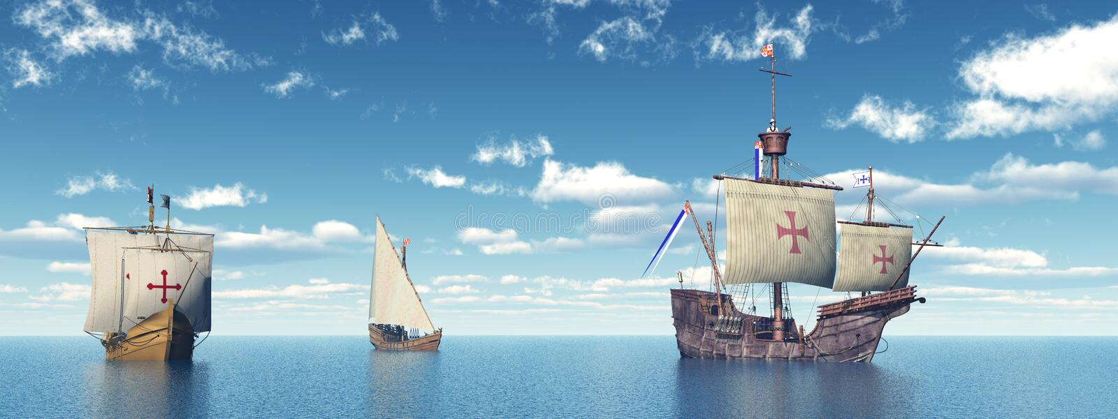 Santa Maria, Nina and Pinta of Christopher Columbus stock illustration