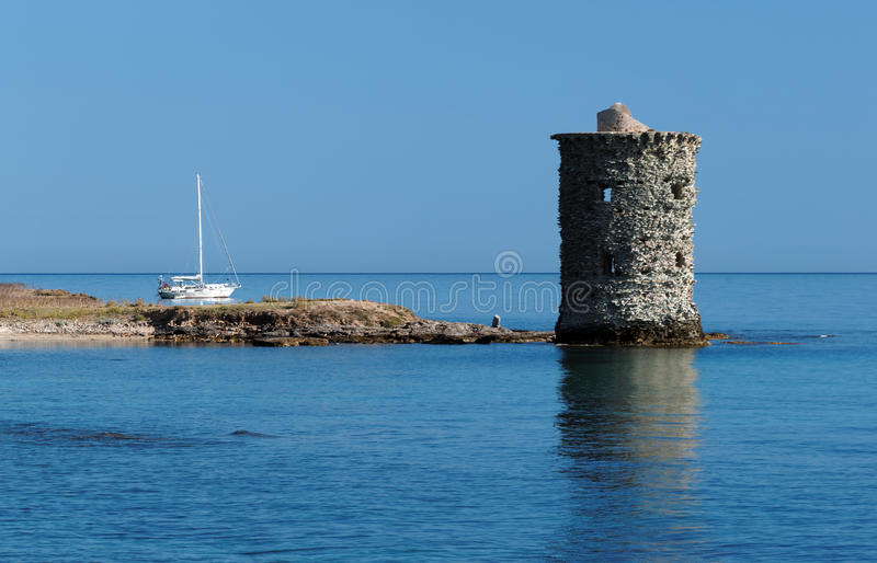 Santa Maria tower in Corsican cape stock image