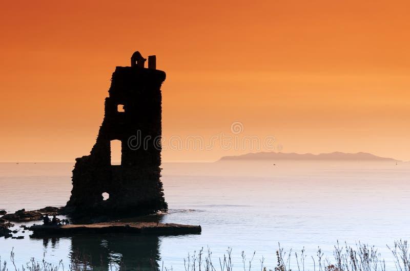 Santa Maria tower in Corsican cape stock photography