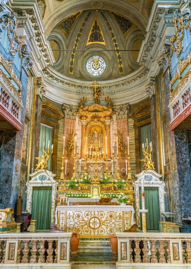Main altar in the Church of Santa Maria in Via, in Rome, Italy. royalty free stock photo