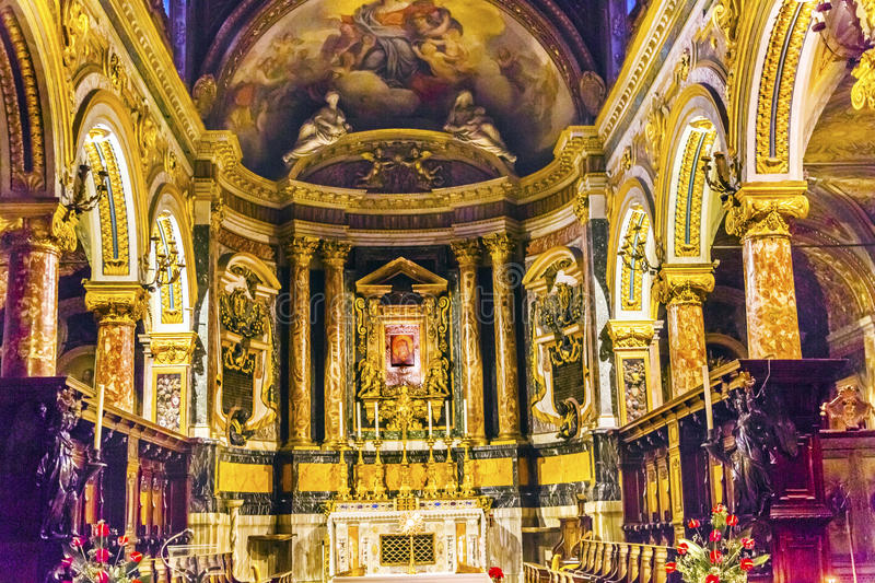 Santa Maria Via Lata Church Over Luke`s House Rome Italy. Church founded in 400 AD, frescoes added in 1400s and church renovated 1639 royalty free stock photo