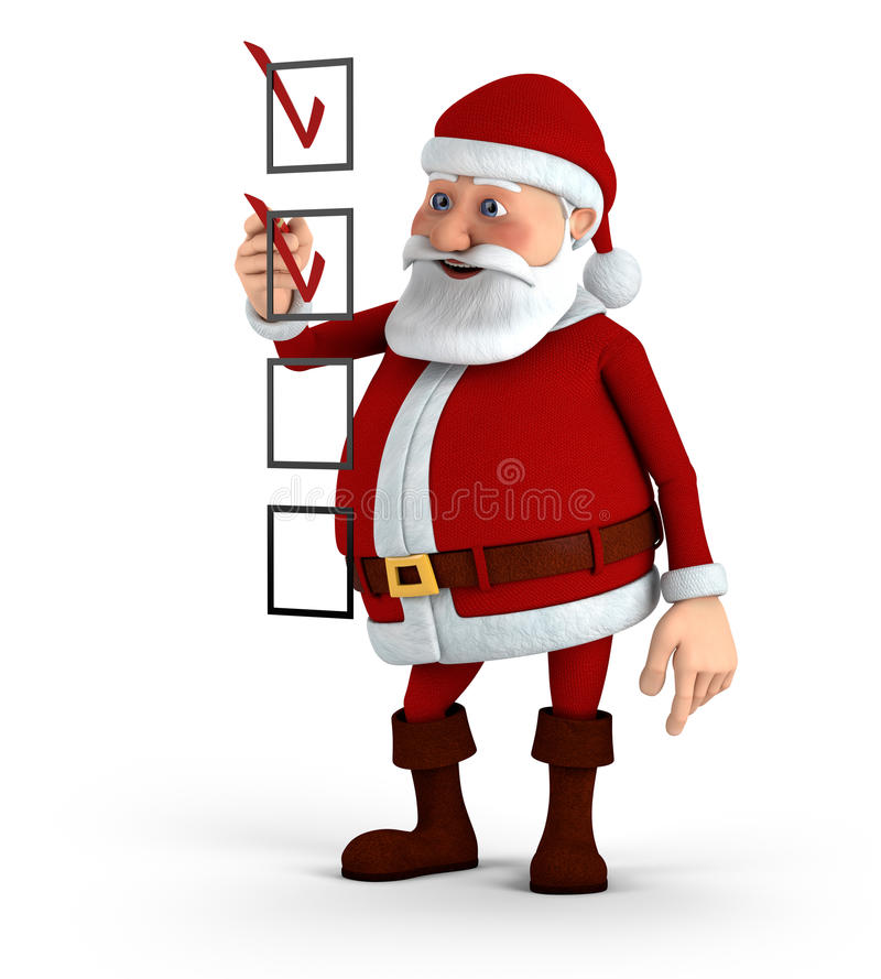 Download Santa marking a checklist stock illustration. Illustration of rendering - 21785140