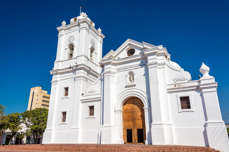 Santa Marta Cathedral. White cathedral of Santa Marta, Colombia with a beautiful deep blue sky stock images