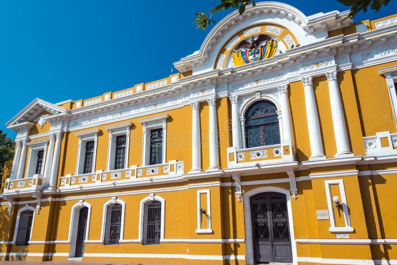 Santa Marta City Hall. Yellow and white historic city hall of Santa Marta, Colombia royalty free stock image