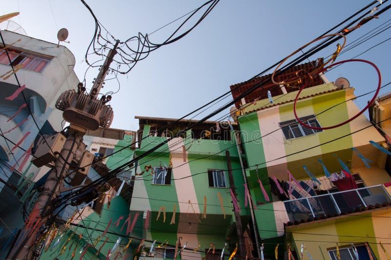 Santa Marta favela i swój kolorowi domy zdjęcia royalty free
