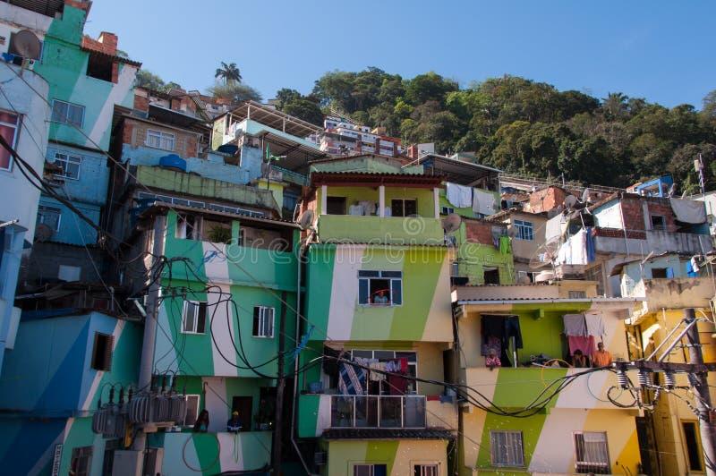 Santa Marta favela and its colorful houses. Rio de Janeiro, Brazil - October 8, 2015: Colorful painted buildings at the entrance to the Favela Santa Marta royalty free stock photo
