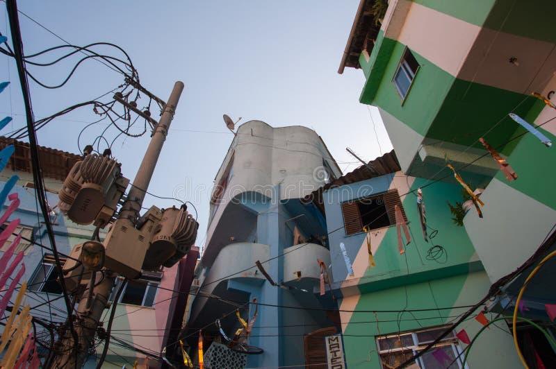 Santa Marta favela and its colorful houses. Rio de Janeiro, Brazil - October 8, 2015: Colorful painted buildings at the entrance to the Favela Santa Marta royalty free stock photos