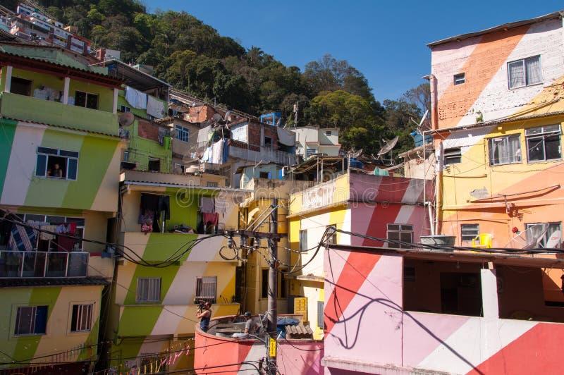 Santa Marta favela and its colorful houses. Rio de Janeiro, Brazil - October 8, 2015: Colorful painted buildings at the entrance to the Favela Santa Marta stock photos