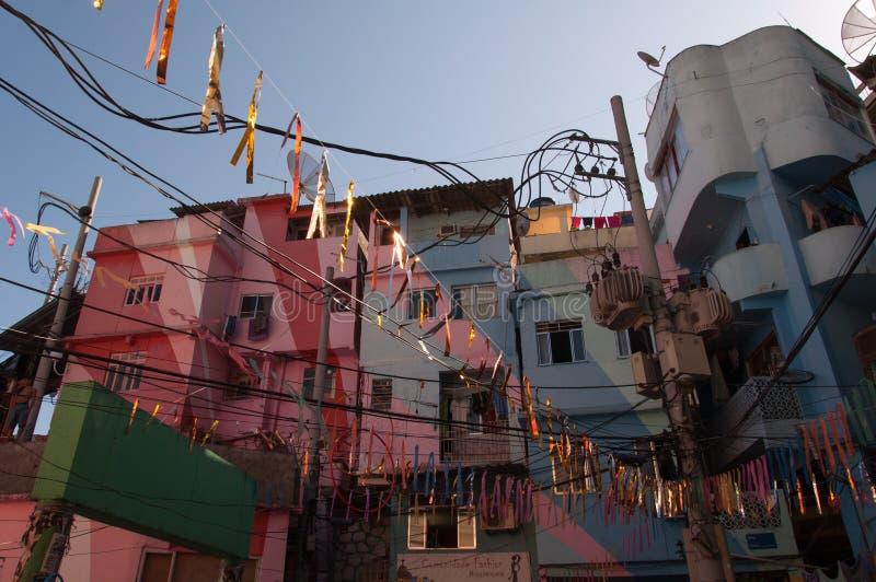 Santa Marta favela and its colorful houses. Rio de Janeiro, Brazil - October 8, 2015: Colorful painted buildings at the entrance to the Favela Santa Marta royalty free stock photography