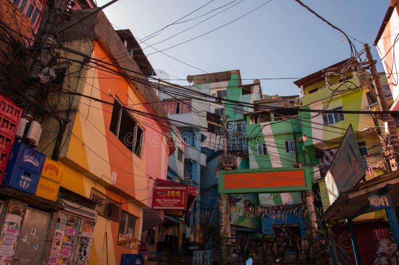 Santa Marta favela and its colorful houses. Rio de Janeiro, Brazil - October 8, 2015: Colorful painted buildings at the entrance to the Favela Santa Marta stock photography