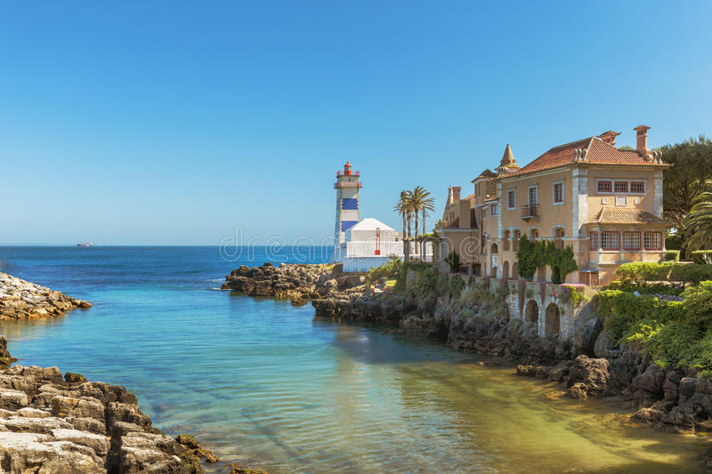 Santa Marta Lighthouse in Cascais fotografia stock