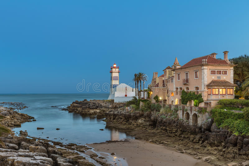 Santa Marta Lighthouse in Cascais, Portugal royalty free stock image