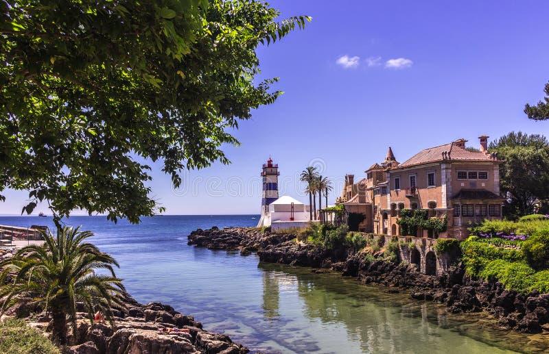 Santa Marta lighthouse. In Cascais, Portugal royalty free stock photography