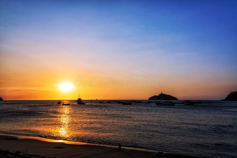 Santa Marta Sunset. Sunset off the coast of Santa Marta, Colombia stock photos