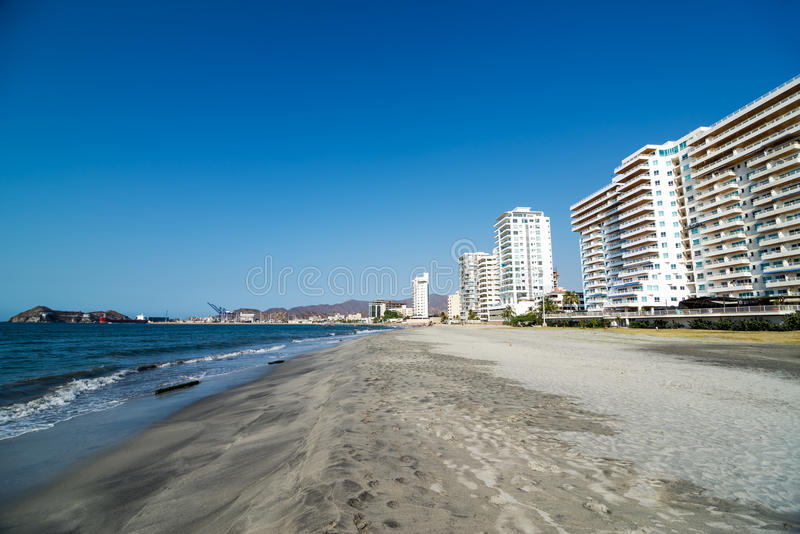 Santa Marta Waterfront. View of beaches on the waterfront of Santa Marta, Colombia royalty free stock image