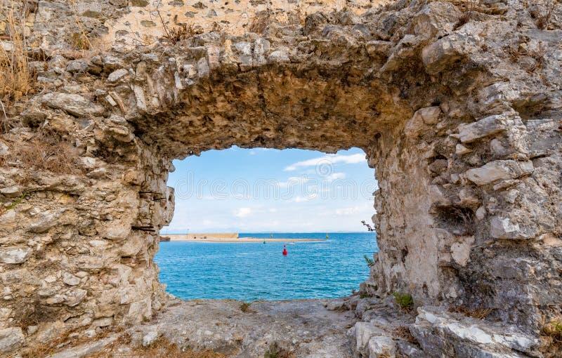 Santa Maura Fortress interna perto da cidade de Lefkada, turista importante fotos de stock