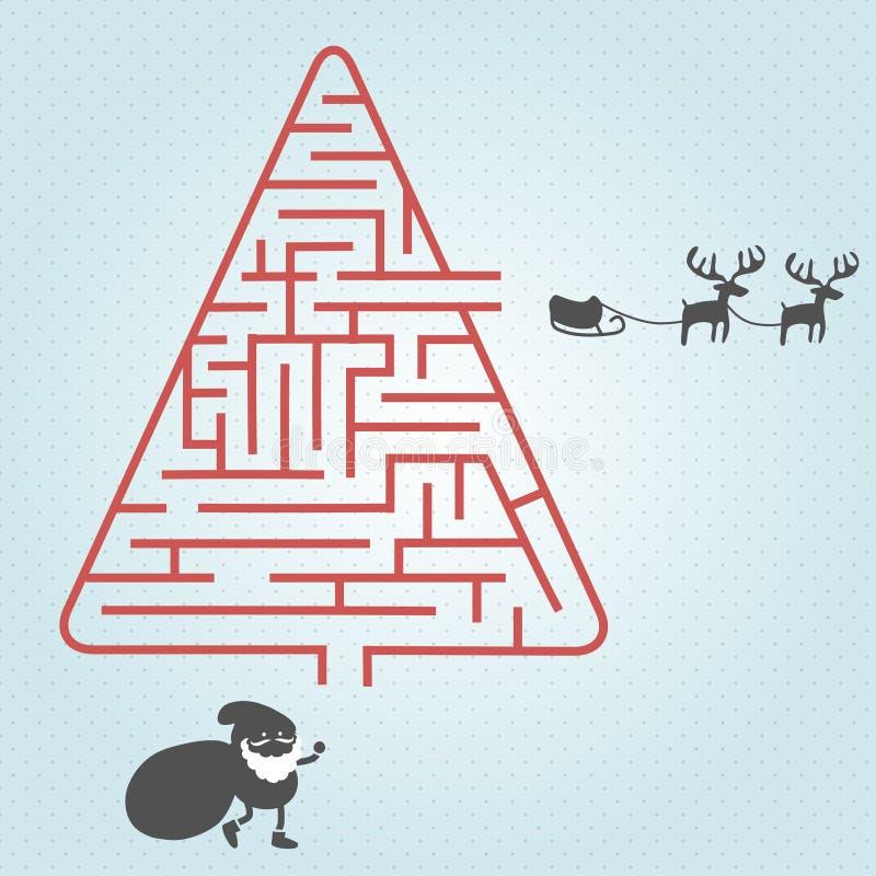 Santa with Maze Christmas tree. vector illustration