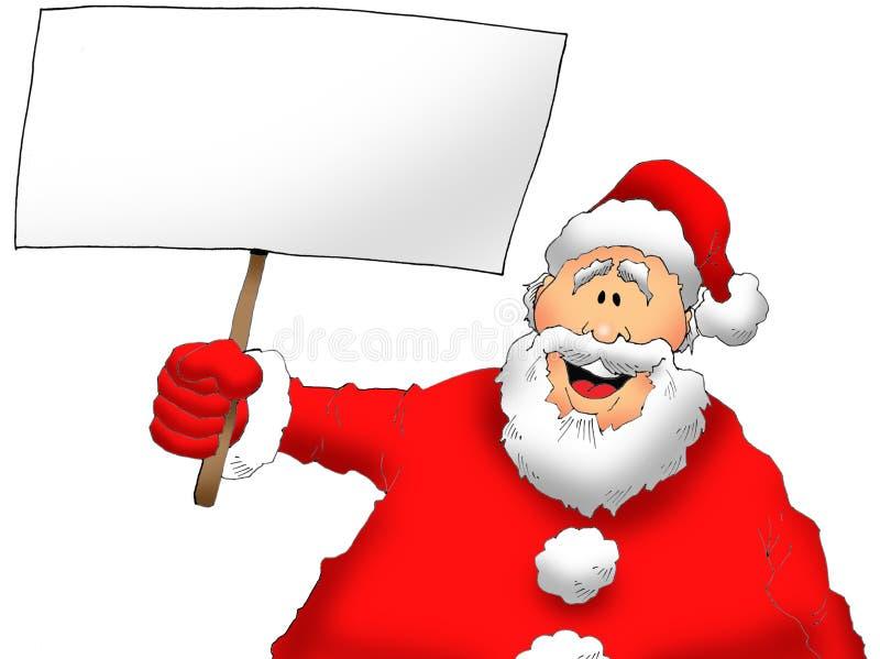 Santa med ett tecken stock illustrationer