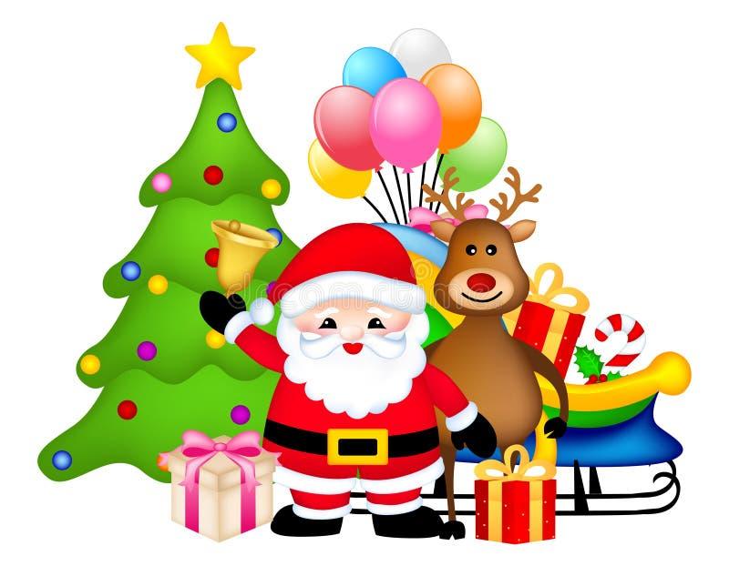 Santa med jultreen vektor illustrationer