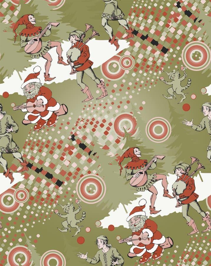 Santa and medieval jugglers. Seamless pattern. Vectos illustration stock illustration