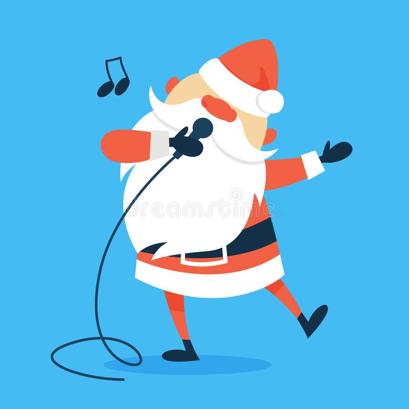 Santa with a microphone sing christmas song. Santa Claus with a microphone sing christmas song in karaoke. Xmas charatcer wishing happy holiday celebration vector illustration