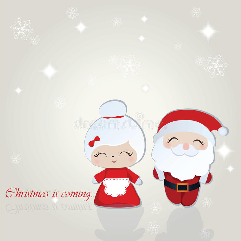 Santa and Misses Claus Merry Christmas background. Vector stock illustration